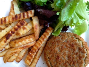 Vegetable Burger, Chips and Salad