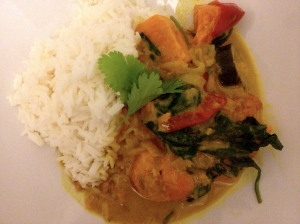 Sweet Potato, Spinach, Tomato and Cougette Curry
